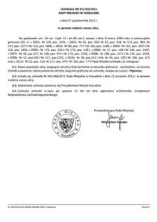 Uchwała Rady Miejskiej w Koszalinie nr XV/194/2011