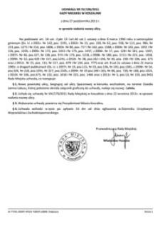 Uchwała Rady Miejskiej w Koszalinie nr XV/196/2011