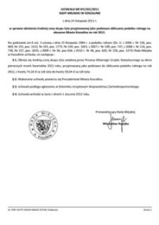 Uchwała Rady Miejskiej w Koszalinie nr XVI/201/2011
