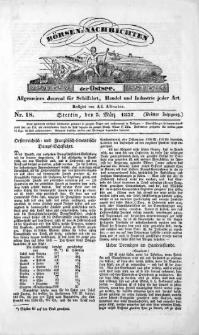 Börsen-Nachrichten der Ost-See : allgemeines Journal für Schiffahrt, Handel und Industrie jeder Art. 1837 Nr. 18