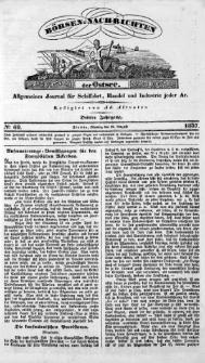 Börsen-Nachrichten der Ost-See : allgemeines Journal für Schiffahrt, Handel und Industrie jeder Art. 1837 Nr. 69