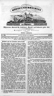 Börsen-Nachrichten der Ost-See : allgemeines Journal für Schiffahrt, Handel und Industrie jeder Art. 1837 Nr. 70