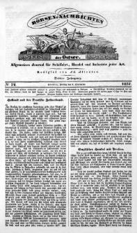 Börsen-Nachrichten der Ost-See : allgemeines Journal für Schiffahrt, Handel und Industrie jeder Art. 1837 Nr. 72