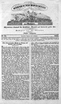 Börsen-Nachrichten der Ost-See : allgemeines Journal für Schiffahrt, Handel und Industrie jeder Art. 1837 Nr. 79