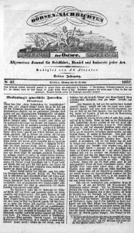 Börsen-Nachrichten der Ost-See : allgemeines Journal für Schiffahrt, Handel und Industrie jeder Art. 1837 Nr. 87