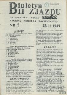 """Biuletyn II Zjazdu Delegatów NSZZ """"Solidarność"""" Regionu Pomorza Zachodniego"""