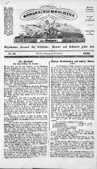 Börsen-Nachrichten der Ost-See : allgemeines Journal für Schiffahrt, Handel und Industrie jeder Art. 1840 Nr. 16