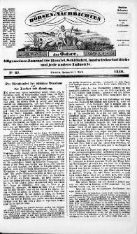 Börsen-Nachrichten der Ost-See : allgemeines Journal für Schiffahrt, Handel und Industrie jeder Art. 1840 Nr. 27