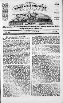 Börsen-Nachrichten der Ost-See : allgemeines Journal für Schiffahrt, Handel und Industrie jeder Art. 1840 Nr. 32