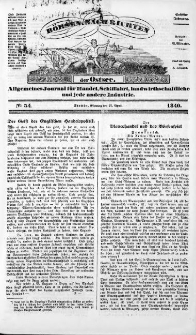 Börsen-Nachrichten der Ost-See : allgemeines Journal für Schiffahrt, Handel und Industrie jeder Art. 1840 Nr. 34