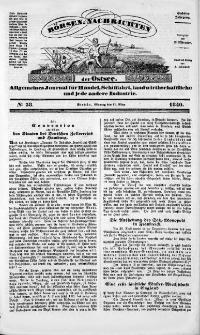 Börsen-Nachrichten der Ost-See : allgemeines Journal für Schiffahrt, Handel und Industrie jeder Art. 1840 Nr. 38