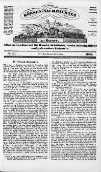 Börsen-Nachrichten der Ost-See : allgemeines Journal für Schiffahrt, Handel und Industrie jeder Art. 1840 Nr. 40