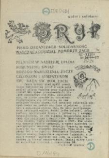 """Gryf : pismo organizacji """"Solidarność Walcząca"""" Oddział Pomorze Zachodnie. 1988 nr 23-24"""