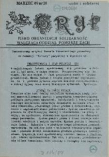 """Gryf : pismo organizacji """"Solidarność Walcząca"""" Oddział Pomorze Zachodnie. 1989 nr 28"""