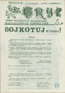 """Gryf : pismo organizacji """"Solidarność Walcząca"""" Oddział Pomorze Zachodnie. 1989 nr 30"""