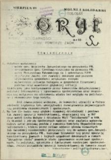 """Gryf : pismo organizacji """"Solidarność Walcząca"""" Oddział Pomorze Zachodnie. 1989 nr 33"""