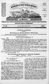 Börsen-Nachrichten der Ost-See : allgemeines Journal für Schiffahrt, Handel und Industrie jeder Art. 1840 Nr. 60