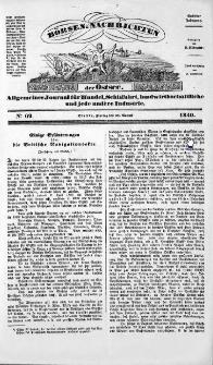 Börsen-Nachrichten der Ost-See : allgemeines Journal für Schiffahrt, Handel und Industrie jeder Art. 1840 Nr. 69