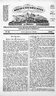 Börsen-Nachrichten der Ost-See : allgemeines Journal für Schiffahrt, Handel und Industrie jeder Art. 1840 Nr. 91