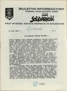 """Biuletyn Informacyjny Komisji Zakładowej NSZZ """"Solidarność"""" przy Wyższej Szkole Morskiej w Szczecinie. 1981 nr 4"""