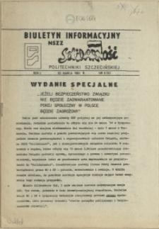 """Biuletyn Informacyjny NSZZ """"Solidarność"""" Politechniki Szczecińskiej. 1981 nr 6"""