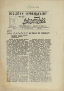 """Biuletyn Informacyjny NSZZ """"Solidarność"""" Politechniki Szczecińskiej. 1981 nr 8"""