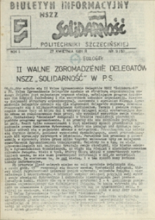 """Biuletyn Informacyjny NSZZ """"Solidarność"""" Politechniki Szczecińskiej. 1981 nr 9"""
