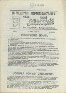 """Biuletyn Informacyjny NSZZ """"Solidarność"""" Politechniki Szczecińskiej. 1981 nr 10"""