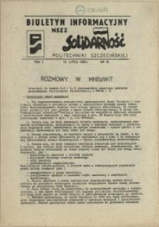 """Biuletyn Informacyjny NSZZ """"Solidarność"""" Politechniki Szczecińskiej. 1981 nr 16"""