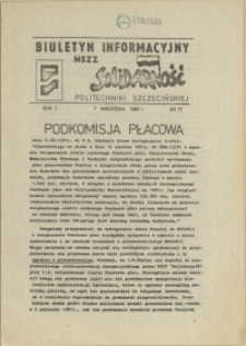 """Biuletyn Informacyjny NSZZ """"Solidarność"""" Politechniki Szczecińskiej. 1981 nr 17"""
