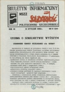 """Biuletyn Informacyjny NSZZ """"Solidarność"""" Politechniki Szczecińskiej. 1990 nr 5"""