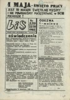 """BiS : biuletyn Informacyjny NSZZ """"Solidarność"""" Regionu Pomorza Zachodniego. 1985 nr 4"""