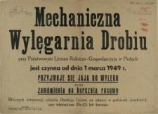 [Afisz. Inc.:] Mechaniczna Wylęgarnia Drobiu [...]