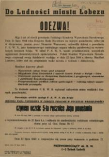 [Afisz] Do Ludności miasta Łobezu Odezwa!