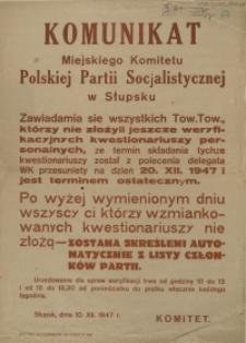 [Afisz. Inc.:] Komunikat Miejskiego Komitetu Polskiej Partii Socjalistycznej w Słupsku [...]