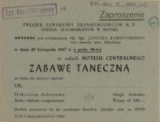 Zaproszenie [Inc.:] Związek Zawodowy Transportowców R.P. Oddział Automobilistów w Słupsku urządza [...] w dniu 29 listopada 1947 r. [...] zabawę taneczną [...]