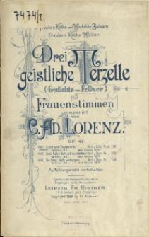 Drei geistliche Terzette : (Gedichte von Fr. Oser) : für Frauenstimmen : Op. 42 No 1, Licht und Finsterniss, lobet den Herrn