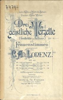 Drei geistliche Terzette : (Gedichte von Fr. Oser) : für Frauenstimmen : Op. 42 No 3, Du hast dich verbogen im finstern Zelt