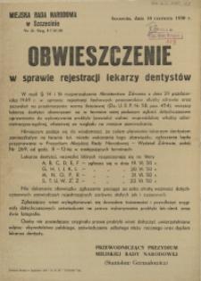 [Afisz] Obwieszczenie w sprawie rejestracji lekarzy dentystów
