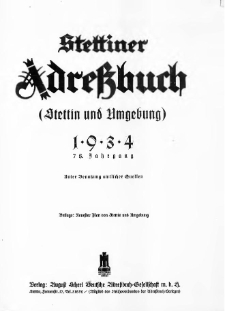 Stettiner Adressbuch : unter Benutzung amtlicher Quellen. J.78, 1934