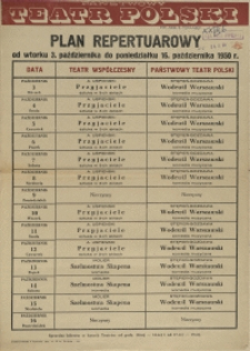 [Afisz] Plan repertuarowy od wtorku 3. października do poniedziałku 16. października 1950 r.