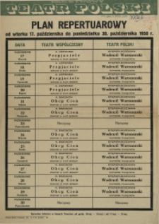 [Afisz] Plan repertuarowy od wtorku 17. października do poniedziałku 30. października 1950 r.