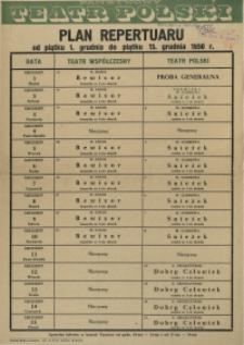 [Afisz] Plan repertuarowy od piątku 1. grudnia do piątku 15. grudnia 1950 r.
