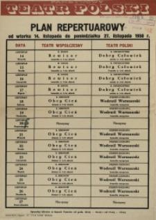 [Afisz] Plan repertuarowy od wtorku 14. listopada do poniedziałku 27. listopada 1950 r.