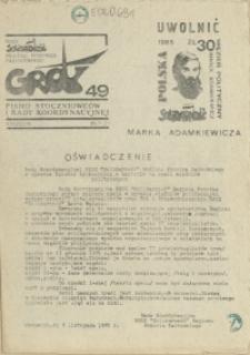 """Grot : pismo NSZZ """"Solidarność"""" Stoczniowców. 1985 nr 49"""
