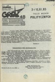 """Grot : pismo NSZZ """"Solidarność"""" Stoczniowców. 1985 nr 48"""