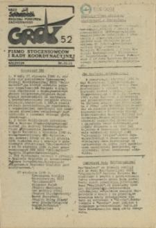 """Grot : pismo NSZZ """"Solidarność"""" Stoczniowców. 1986 nr 52"""