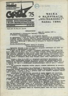 """Grot : pismo NSZZ """"Solidarność"""" Stoczniowców. 1987 nr 75"""