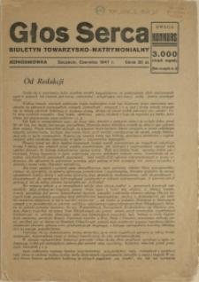 Głos Serca : biuletyn towarzysko-matrymonialny. 1947, czerwiec