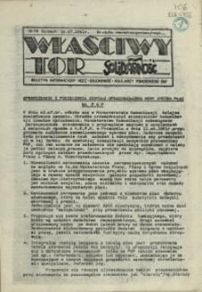 """Właściwy Tor : biuletyn informacyjny NSZZ """"Solidarność"""" Kolejarzy Pomorskiego OKP. 1981 nr 19"""